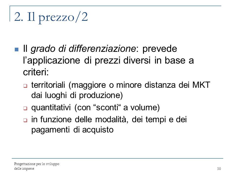 Progettazione per lo sviluppo delle imprese50 2. Il prezzo/2 Il grado di differenziazione: prevede l'applicazione di prezzi diversi in base a criteri: