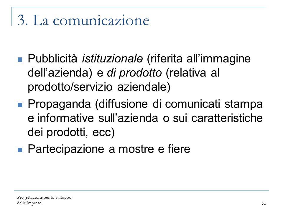 Progettazione per lo sviluppo delle imprese51 3. La comunicazione Pubblicità istituzionale (riferita all'immagine dell'azienda) e di prodotto (relativ