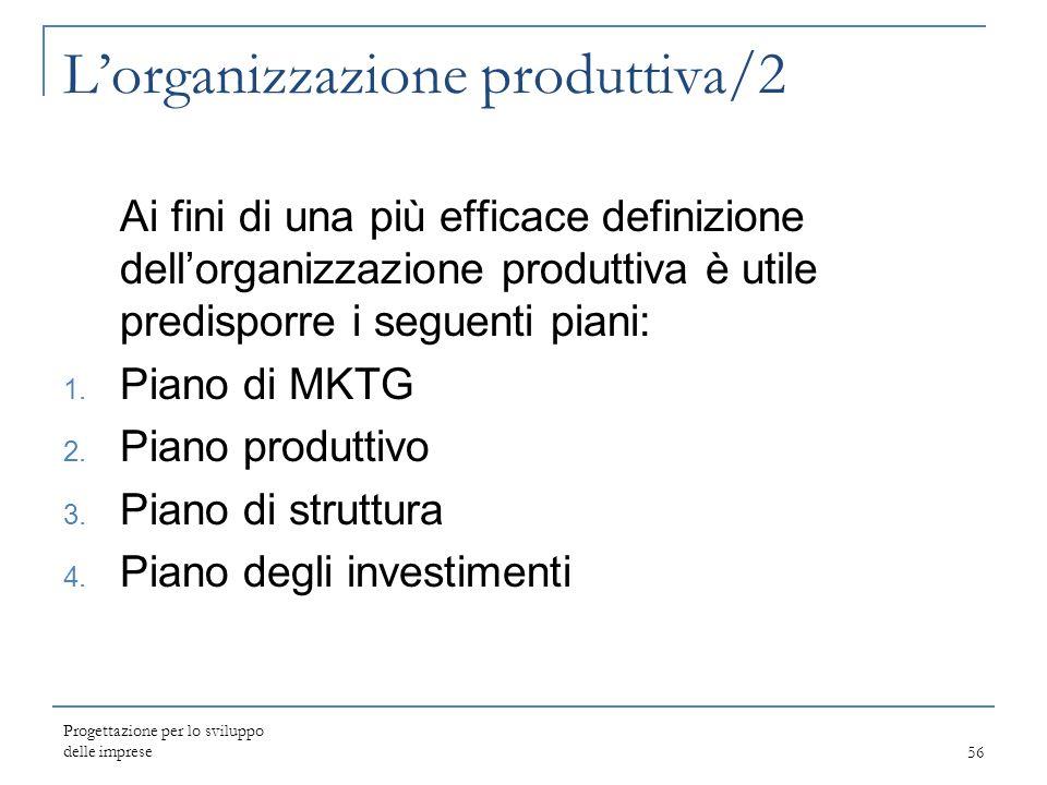 Progettazione per lo sviluppo delle imprese56 L'organizzazione produttiva/2 Ai fini di una più efficace definizione dell'organizzazione produttiva è u
