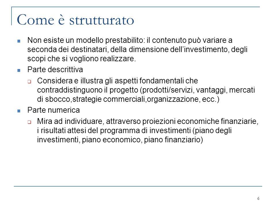 Contenuti minimi del BP Sintesi dell'idea imprenditoriale Motivazioni di origine Mercato di riferimento Strategie produttive e commerciali Risultati attesi Piano finanziario 7