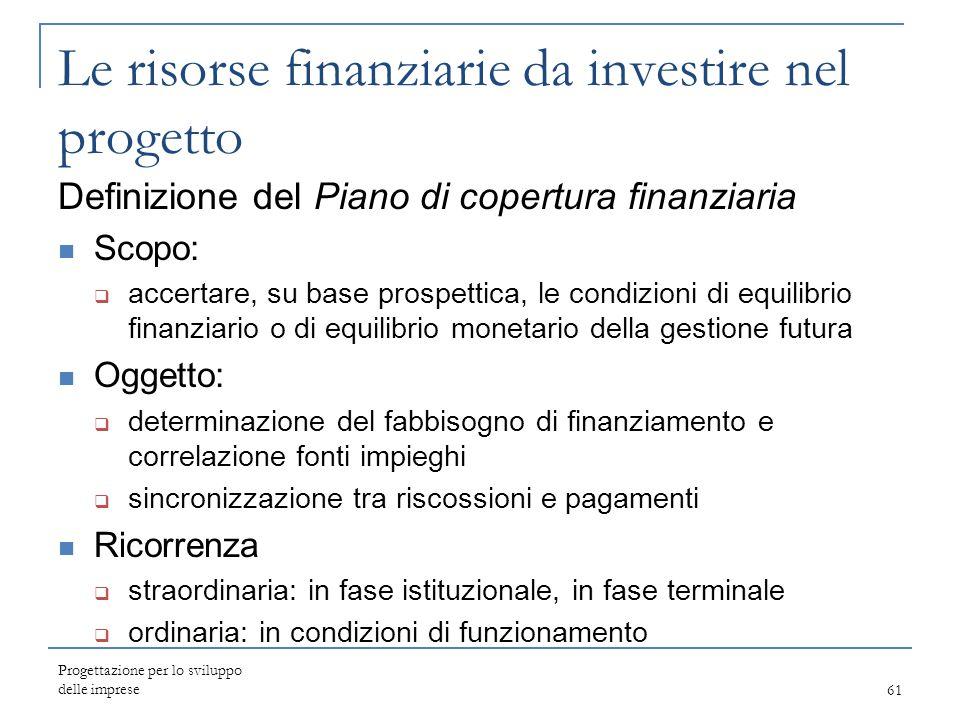 Progettazione per lo sviluppo delle imprese61 Le risorse finanziarie da investire nel progetto Definizione del Piano di copertura finanziaria Scopo: 