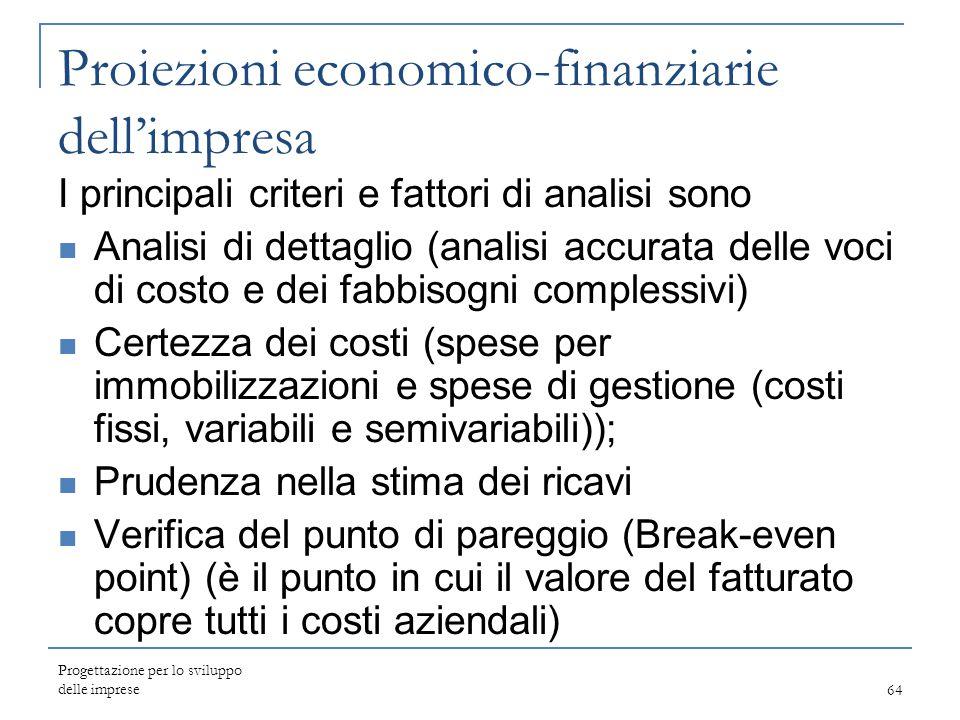 Progettazione per lo sviluppo delle imprese64 Proiezioni economico-finanziarie dell'impresa I principali criteri e fattori di analisi sono Analisi di
