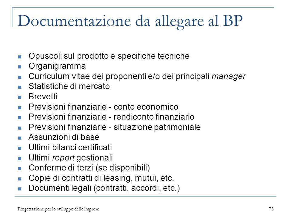 Progettazione per lo sviluppo delle imprese73 Documentazione da allegare al BP Opuscoli sul prodotto e specifiche tecniche Organigramma Curriculum vit