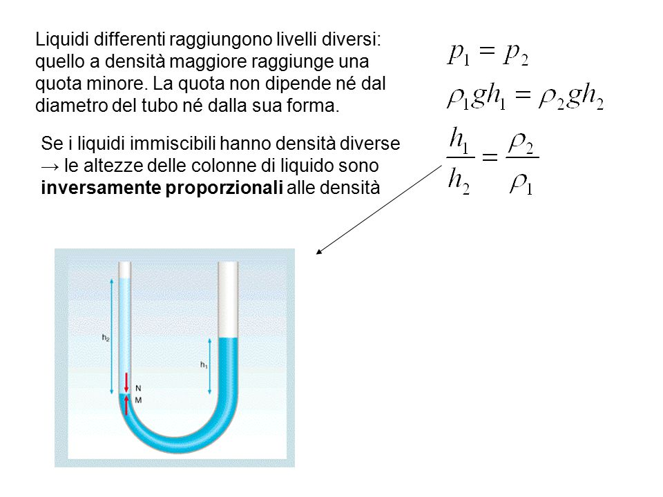 Liquidi differenti raggiungono livelli diversi: quello a densità maggiore raggiunge una quota minore. La quota non dipende né dal diametro del tubo né