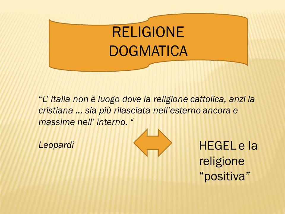 """RELIGIONE DOGMATICA """"L' Italia non è luogo dove la religione cattolica, anzi la cristiana … sia più rilasciata nell'esterno ancora e massime nell' int"""