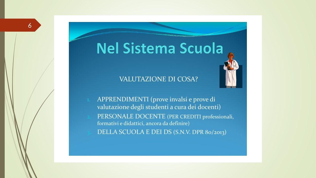 SNV DPR 80/2013 Lo Stato si fida delle scuole, infatti la norma introduce la Autovalutazione delle scuole Questa operazione sarà condotta da un gruppo di lavoro interno alla scuola, il G.A.V.