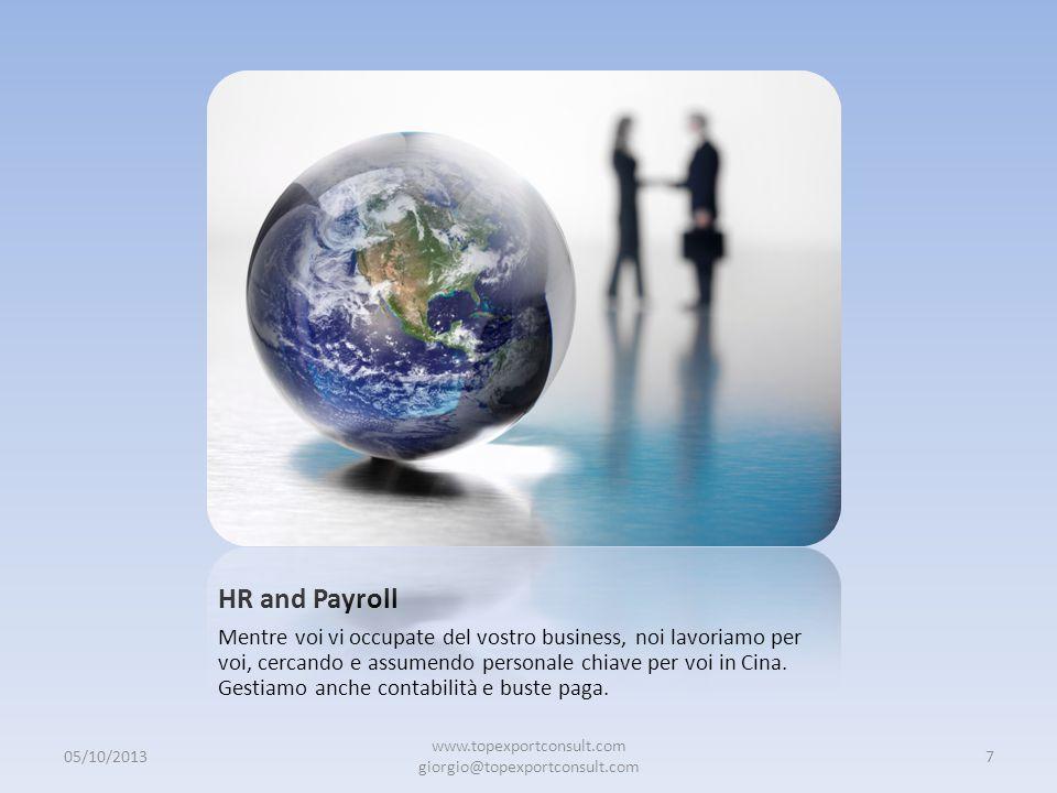 HR and Payroll Mentre voi vi occupate del vostro business, noi lavoriamo per voi, cercando e assumendo personale chiave per voi in Cina.