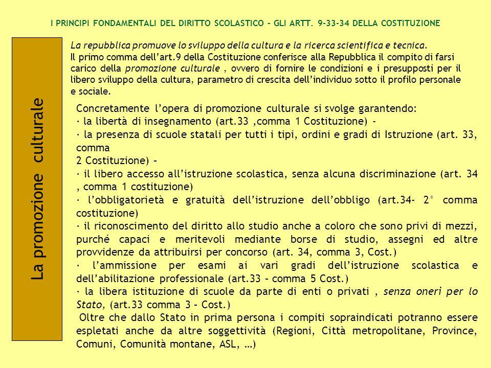 L'arte e la scienza sono libere e libero ne è l'insegnamento (art.33, 1° co Cost.) L'identificazione dei concetti di ««arte»» e di ««scienza»» è di enorme difficoltà,poiché qualsiasi oggetto può essere affrontato scientificamente e qualunque può essere il contenuto o il motivo di un'espressione artistica (ROIS).