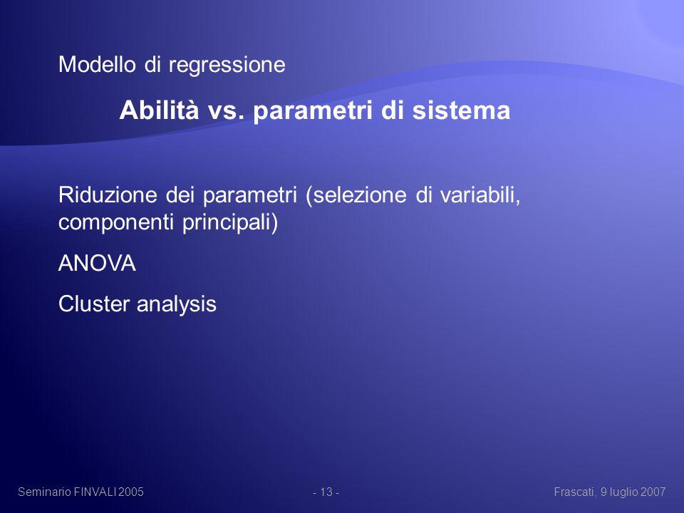 Seminario FINVALI 2005Frascati, 9 luglio 2007- 13 - Modello di regressione Abilità vs.