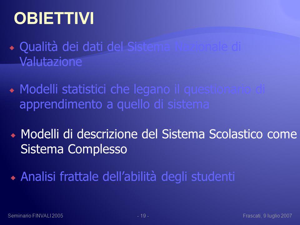 Seminario FINVALI 2005Frascati, 9 luglio 2007- 19 -  Qualità dei dati del Sistema Nazionale di Valutazione  Modelli statistici che legano il questionario di apprendimento a quello di sistema  Modelli di descrizione del Sistema Scolastico come Sistema Complesso  Analisi frattale dell'abilità degli studenti OBIETTIVI