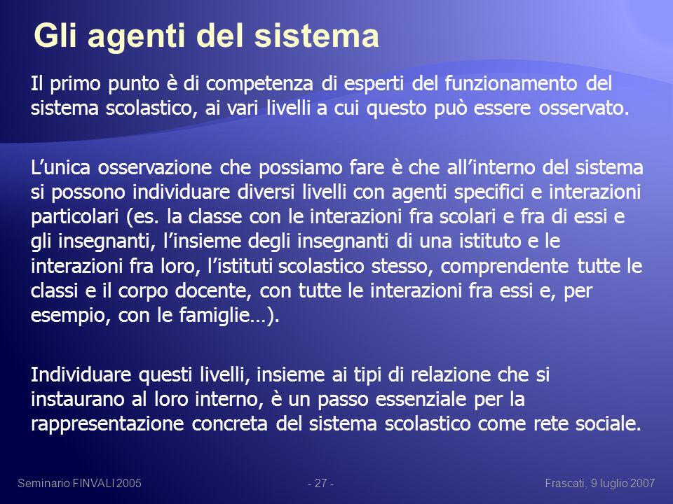 Seminario FINVALI 2005Frascati, 9 luglio 2007- 27 - Il primo punto è di competenza di esperti del funzionamento del sistema scolastico, ai vari livelli a cui questo può essere osservato.