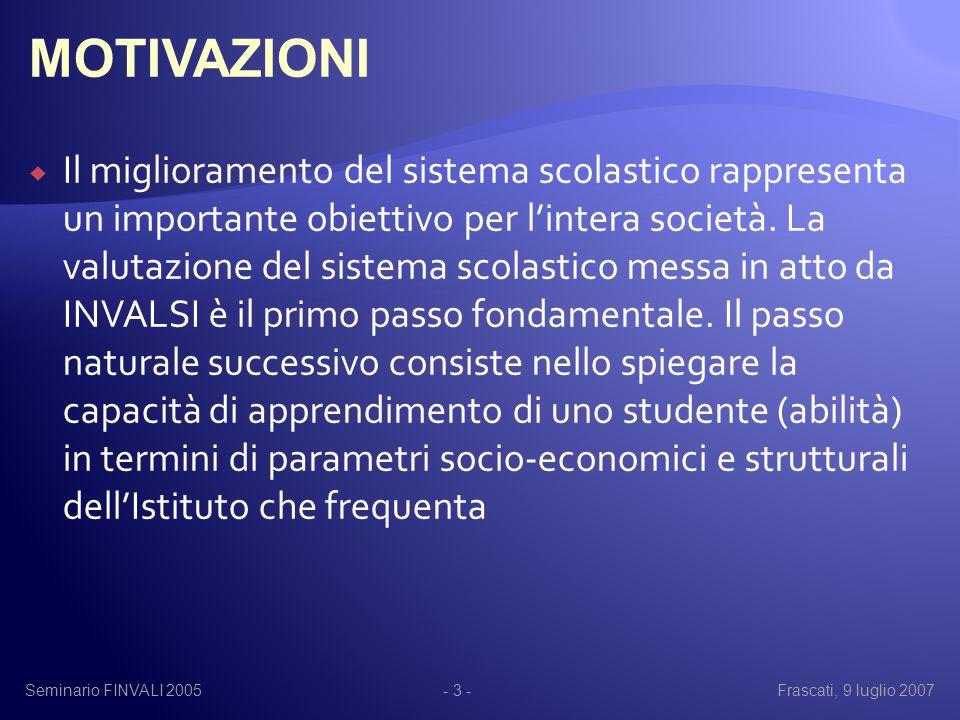 Seminario FINVALI 2005Frascati, 9 luglio 2007- 14 - 0.050.10.150.20.25 Pubblico Privato 1-way ANOVA su Tipo - Abilità Italiano-Matematica-Scienze Abilità Italiano-Matematica-Scienze