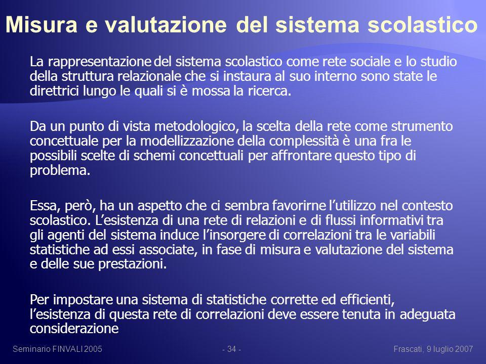 Seminario FINVALI 2005Frascati, 9 luglio 2007- 34 - La rappresentazione del sistema scolastico come rete sociale e lo studio della struttura relazionale che si instaura al suo interno sono state le direttrici lungo le quali si è mossa la ricerca.