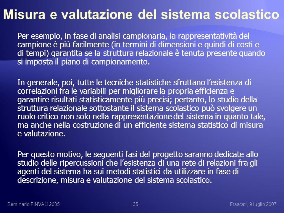 Seminario FINVALI 2005Frascati, 9 luglio 2007- 35 - Per esempio, in fase di analisi campionaria, la rappresentatività del campione è più facilmente (in termini di dimensioni e quindi di costi e di tempi) garantita se la struttura relazionale è tenuta presente quando si imposta il piano di campionamento.