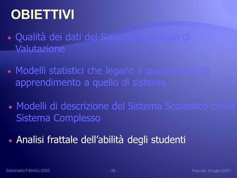 Seminario FINVALI 2005Frascati, 9 luglio 2007- 36 -  Qualità dei dati del Sistema Nazionale di Valutazione  Modelli statistici che legano il questionario di apprendimento a quello di sistema  Modelli di descrizione del Sistema Scolastico come Sistema Complesso  Analisi frattale dell'abilità degli studenti OBIETTIVI