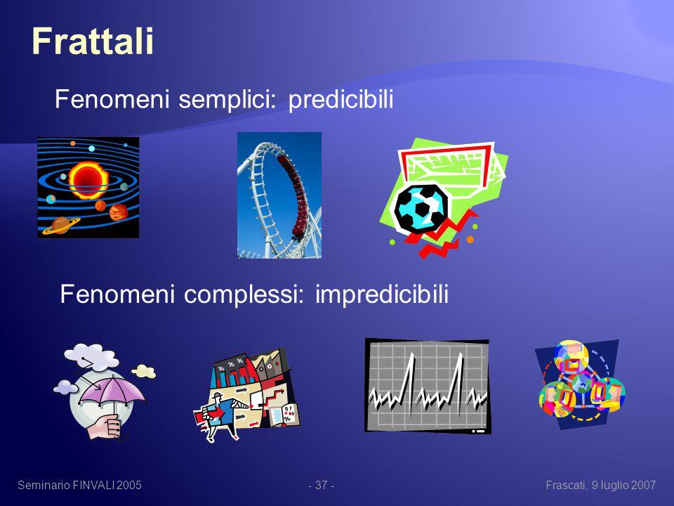 Seminario FINVALI 2005Frascati, 9 luglio 2007- 37 - Frattali Fenomeni semplici: predicibili Fenomeni complessi: impredicibili