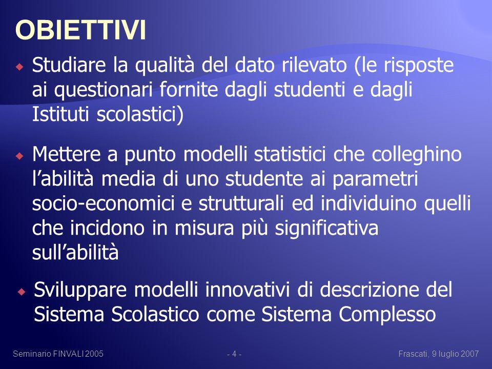Seminario FINVALI 2005Frascati, 9 luglio 2007- 15 - 0.030.040.050.060.070.080.09 Femmine Maschi 1-way ANOVA su Sesso - Abilità Italiano-Matematica-Scienze Abilità Italiano-Matematica-Scienze -0.06-0.04-0.0200.020.040.060.080.1 Elementare Media I grado Superiore 1-way ANOVA su Ordine - Abilità Italiano-Matematica-Scienze Abilità Italiano-Matematica-Scienze