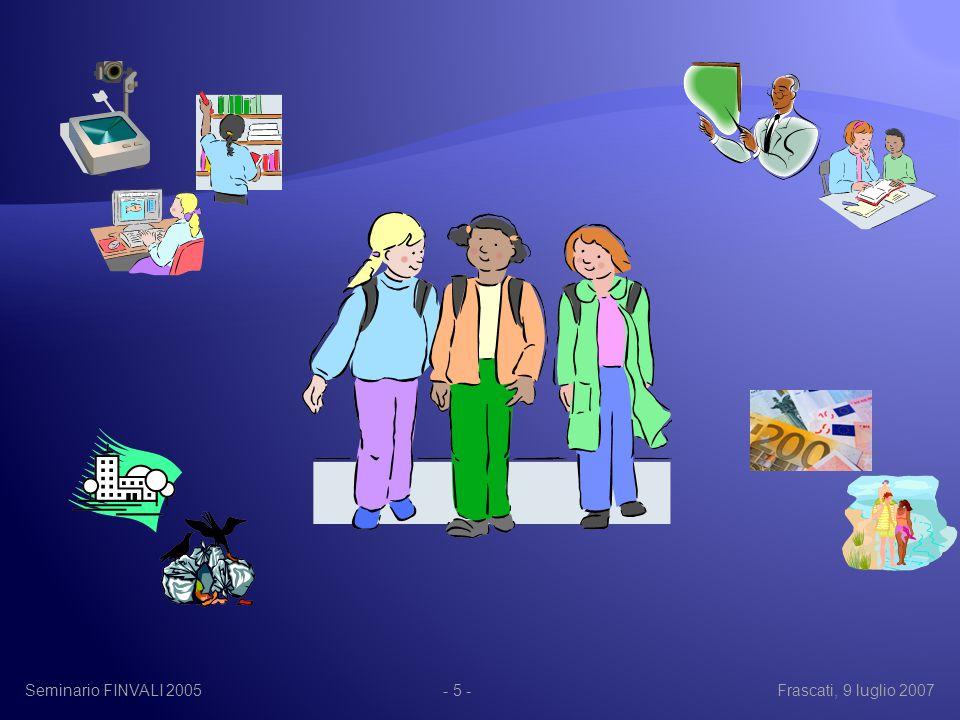 Seminario FINVALI 2005Frascati, 9 luglio 2007- 26 - Se si accetta questa assunto, si ha come conseguenza principale il fatto che lo studio della complessità del sistema scolastico passa attraverso lo studio e la rappresentazione della struttura topologica del sistema di relazioni che si instaurano al suo interno.