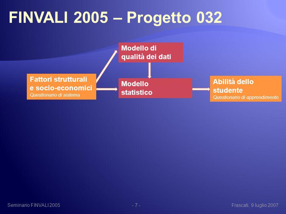 Seminario FINVALI 2005Frascati, 9 luglio 2007- 7 - Abilità dello studente Questionario di apprendimento Fattori strutturali e socio-economici Questionario di sistema Modello statistico Modello di qualità dei dati FINVALI 2005 – Progetto 032