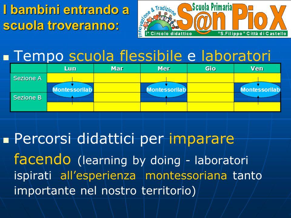 Tempo scuola flessibile e laboratori aperti Percorsi didattici per imparare facendo (learning by doing - laboratori ispirati all'esperienza montessori