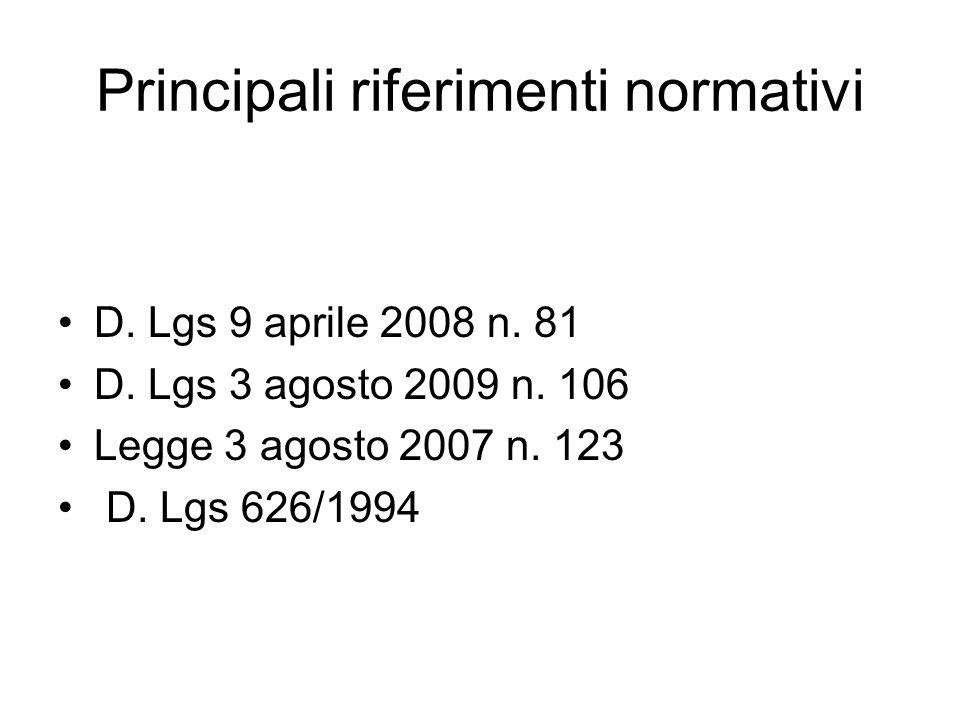 Principali riferimenti normativi D. Lgs 9 aprile 2008 n. 81 D. Lgs 3 agosto 2009 n. 106 Legge 3 agosto 2007 n. 123 D. Lgs 626/1994