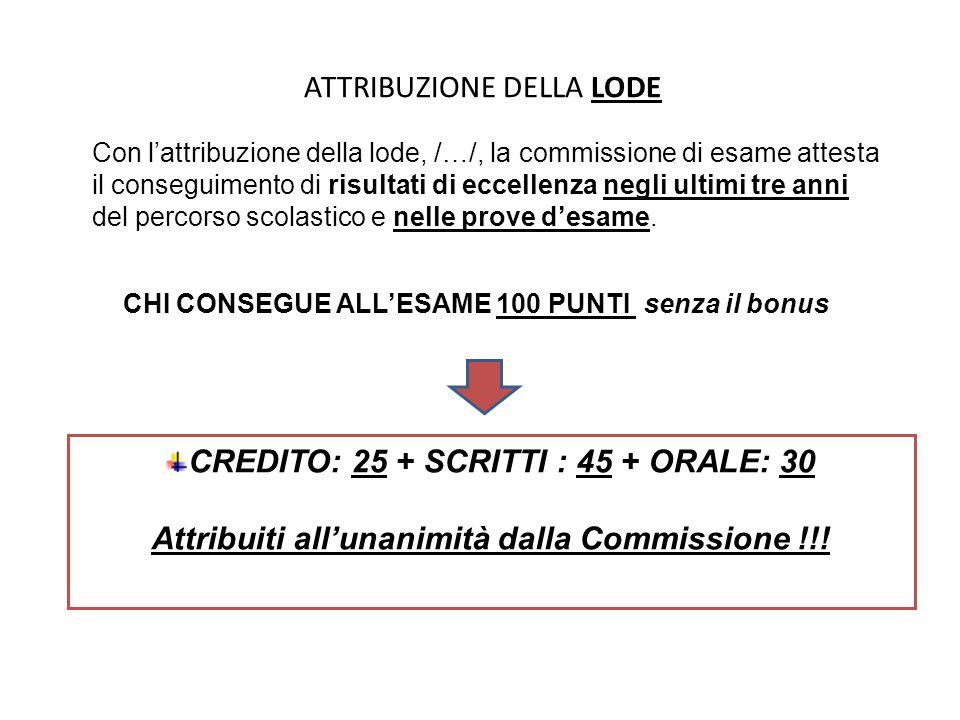 ATTRIBUZIONE DELLA LODE a condizione che … CREDITO SCOLASTICO DI 25 punti Senza integrazione ( all'art.