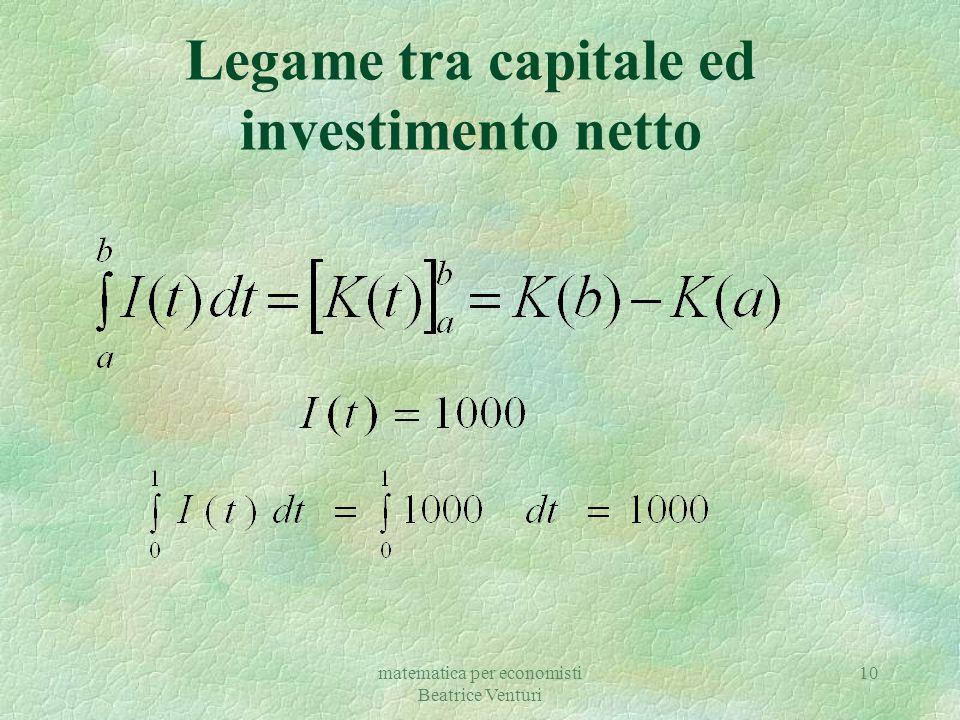 matematica per economisti Beatrice Venturi 10 Legame tra capitale ed investimento netto