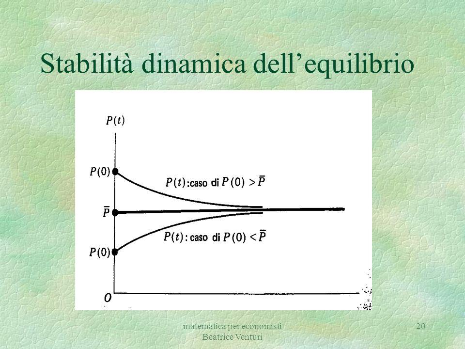matematica per economisti Beatrice Venturi 20 Stabilità dinamica dell'equilibrio