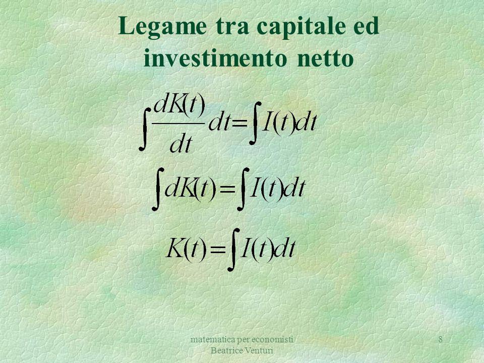 matematica per economisti Beatrice Venturi 8 Legame tra capitale ed investimento netto