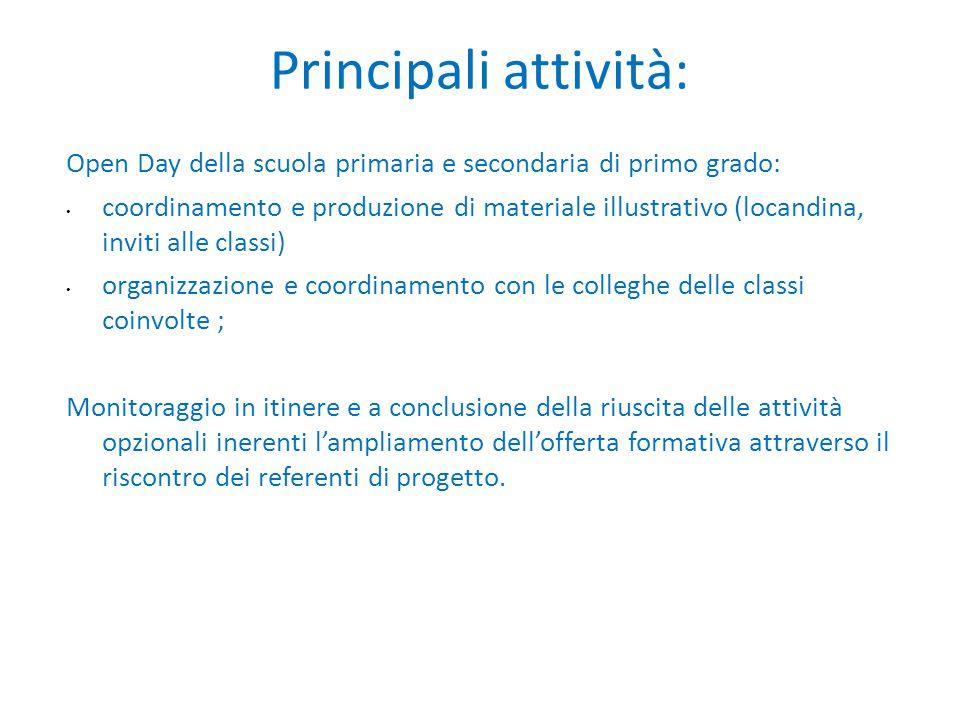 Principali attività: Open Day della scuola primaria e secondaria di primo grado: coordinamento e produzione di materiale illustrativo (locandina, invi