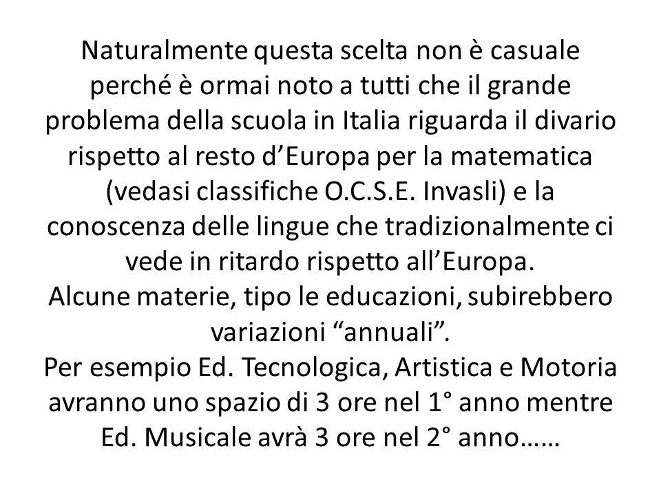 Naturalmente questa scelta non è casuale perché è ormai noto a tutti che il grande problema della scuola in Italia riguarda il divario rispetto al resto d'Europa per la matematica (vedasi classifiche O.C.S.E.