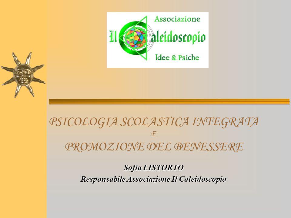 PSICOLOGIA SCOLASTICA INTEGRATA E PROMOZIONE DEL BENESSERE Sofia LISTORTO Responsabile Associazione Il Caleidoscopio
