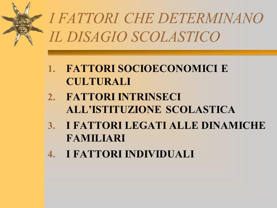 I FATTORI CHE DETERMINANO IL DISAGIO SCOLASTICO 1. FATTORI SOCIOECONOMICI E CULTURALI 2. FATTORI INTRINSECI ALL'ISTITUZIONE SCOLASTICA 3. I FATTORI LE