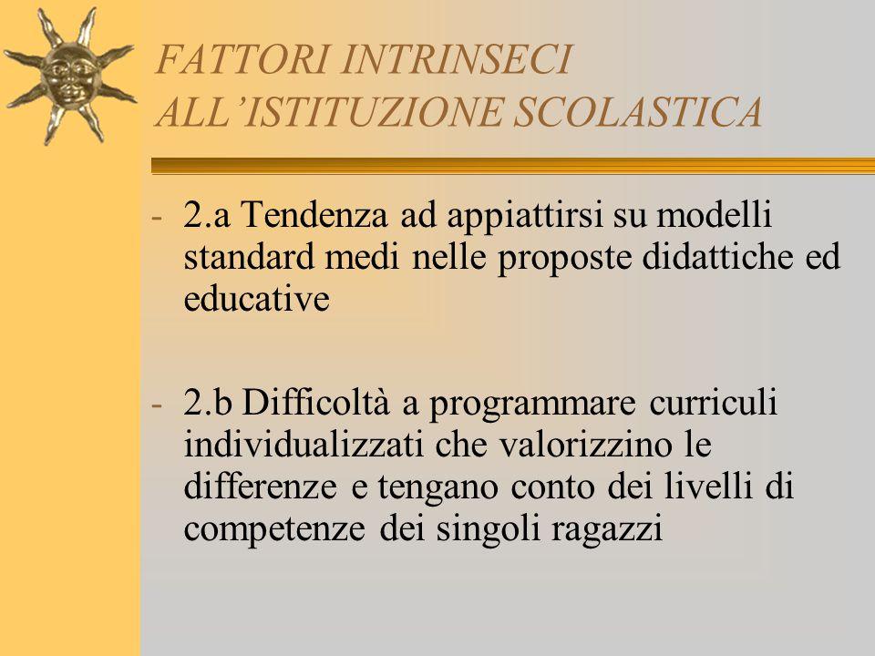 FATTORI INTRINSECI ALL'ISTITUZIONE SCOLASTICA - 2.a Tendenza ad appiattirsi su modelli standard medi nelle proposte didattiche ed educative - 2.b Diff