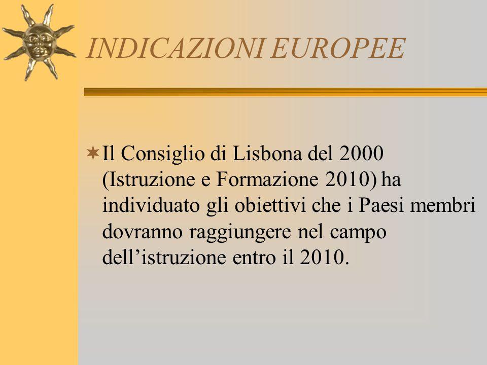 INDICAZIONI EUROPEE  Il Consiglio di Lisbona del 2000 (Istruzione e Formazione 2010) ha individuato gli obiettivi che i Paesi membri dovranno raggiun