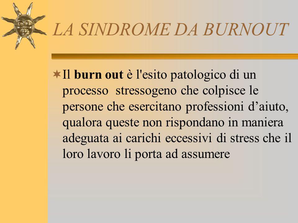 LA SINDROME DA BURNOUT  Il burn out è l'esito patologico di un processo stressogeno che colpisce le persone che esercitano professioni d'aiuto, qualo