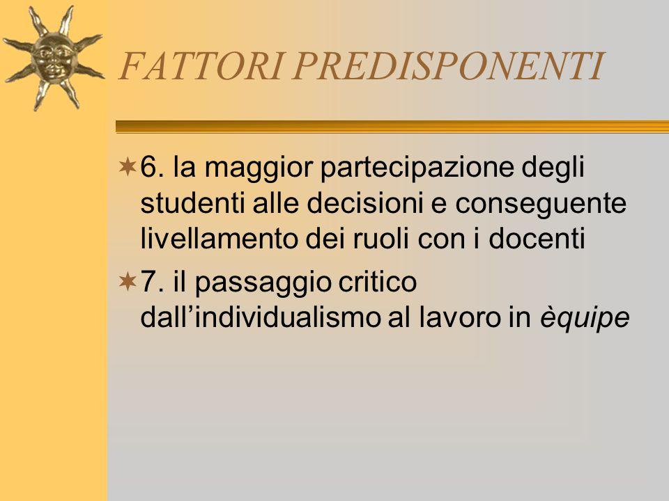 FATTORI PREDISPONENTI  6. la maggior partecipazione degli studenti alle decisioni e conseguente livellamento dei ruoli con i docenti  7. il passaggi