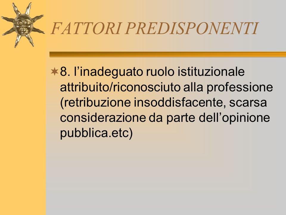 FATTORI PREDISPONENTI  8. l'inadeguato ruolo istituzionale attribuito/riconosciuto alla professione (retribuzione insoddisfacente, scarsa considerazi