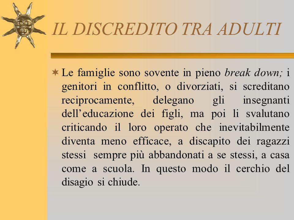 IL DISCREDITO TRA ADULTI  Le famiglie sono sovente in pieno break down; i genitori in conflitto, o divorziati, si screditano reciprocamente, delegano