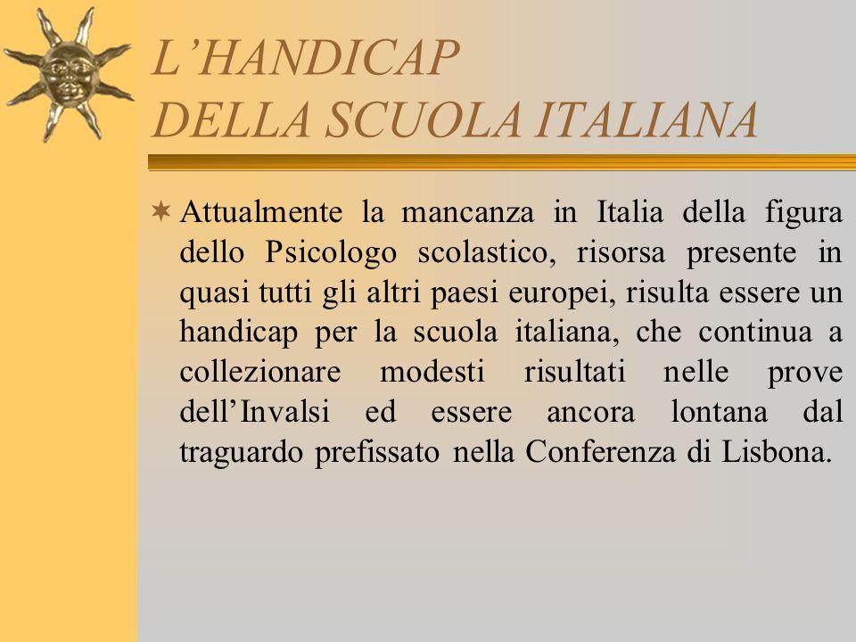 L'HANDICAP DELLA SCUOLA ITALIANA  Attualmente la mancanza in Italia della figura dello Psicologo scolastico, risorsa presente in quasi tutti gli altr