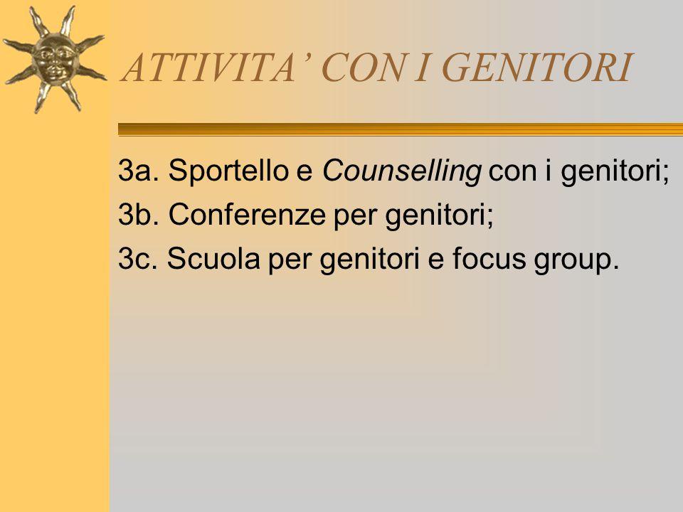 ATTIVITA' CON I GENITORI 3a. Sportello e Counselling con i genitori; 3b. Conferenze per genitori; 3c. Scuola per genitori e focus group.