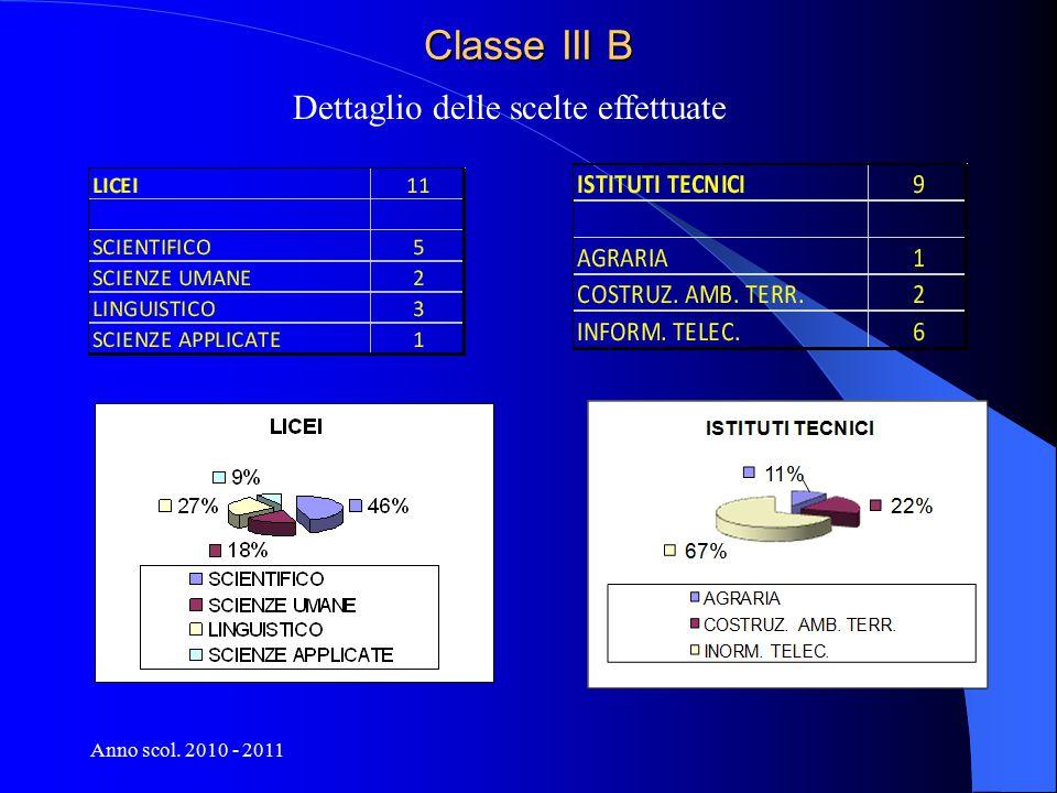 Anno scol. 2010 - 2011 Classe III B Dettaglio delle scelte effettuate