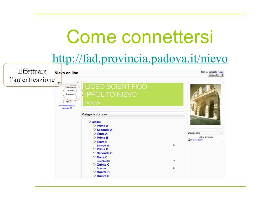 Come connettersi http://fad.provincia.padova.it/nievo Effettuare l ' autenticazione