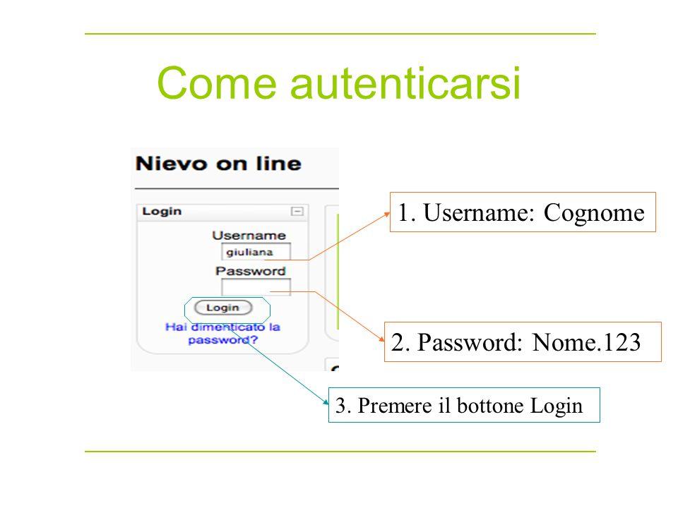 Come autenticarsi 1. Username: Cognome 2. Password: Nome.123 3. Premere il bottone Login