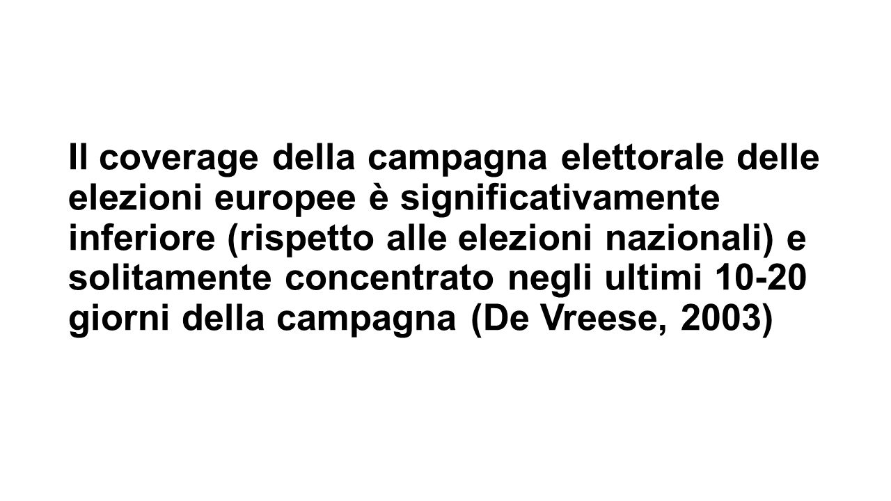 Il coverage della campagna elettorale delle elezioni europee è significativamente inferiore (rispetto alle elezioni nazionali) e solitamente concentra