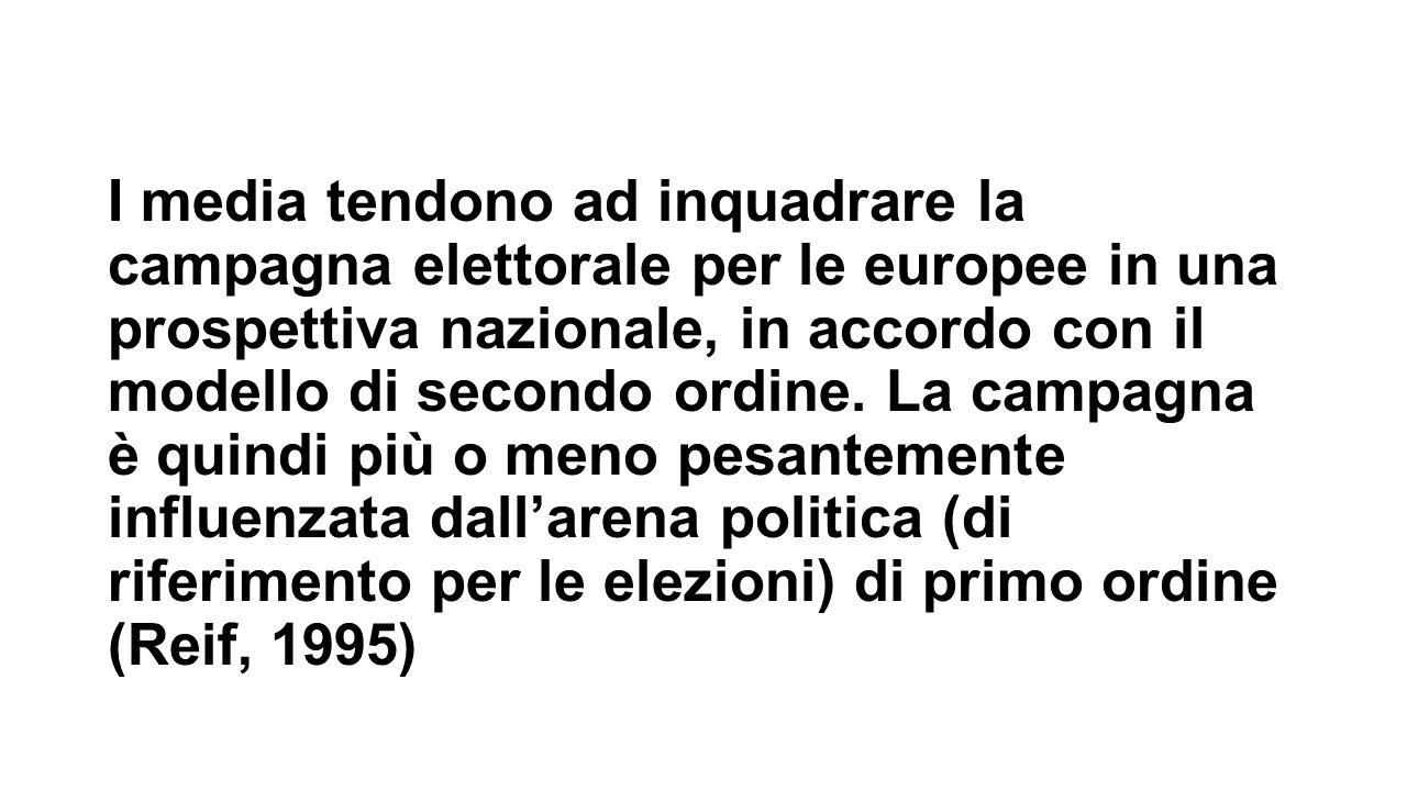 I media tendono ad inquadrare la campagna elettorale per le europee in una prospettiva nazionale, in accordo con il modello di secondo ordine. La camp
