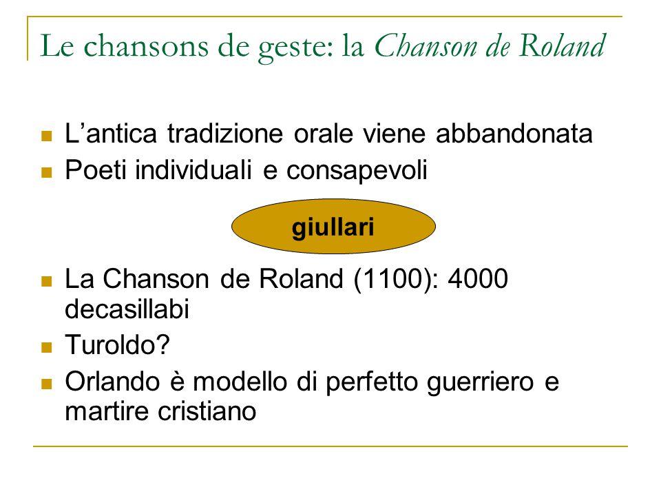 Le chansons de geste: la Chanson de Roland L'antica tradizione orale viene abbandonata Poeti individuali e consapevoli La Chanson de Roland (1100): 40