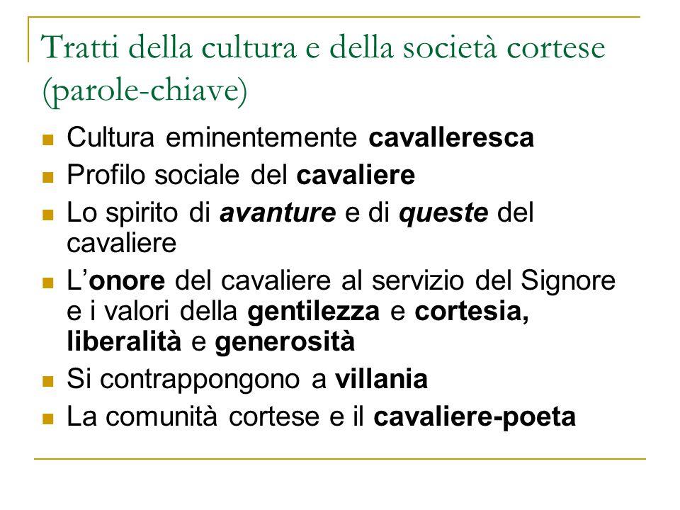 Tratti della cultura e della società cortese (parole-chiave) Cultura eminentemente cavalleresca Profilo sociale del cavaliere Lo spirito di avanture e