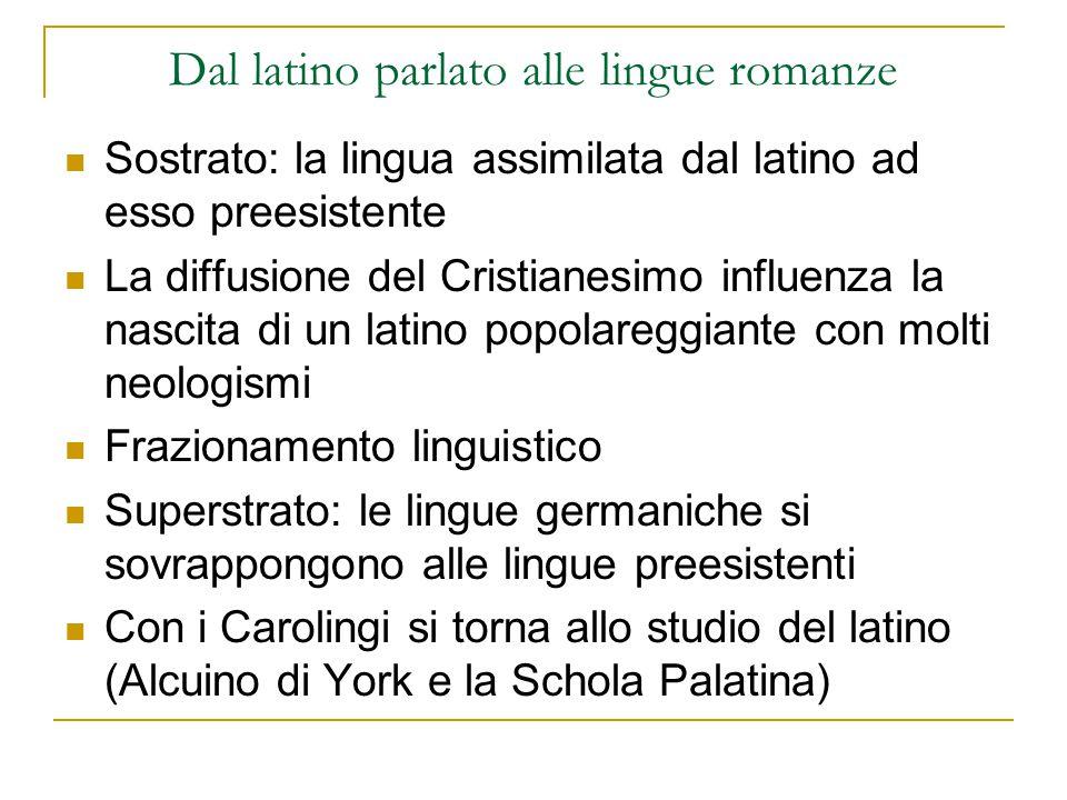 Dal latino parlato alle lingue romanze In Italia c'è il Capitolare di Lotario (825) Concilio di Tours (813): il bilinguismo (uso del volgare nella messa) Giuramenti di Strasburgo (842): primo documento in un volgare romanzo.