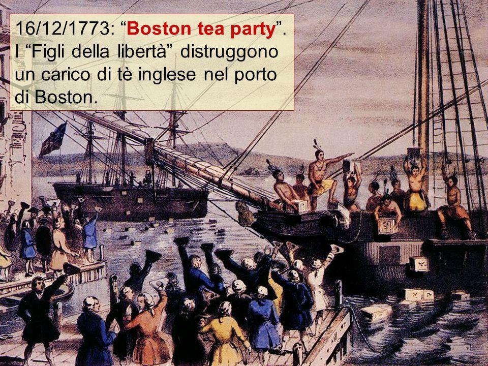 """16/12/1773: """"Boston tea party"""". I """"Figli della libertà"""" distruggono un carico di tè inglese nel porto di Boston."""
